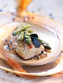 Pan-fried foie gras with truffles and green asparagus