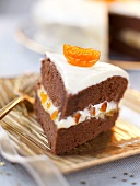 Chocolate cake with apricot cream