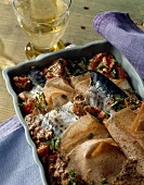 Buckwheat crepe and mackerel bake
