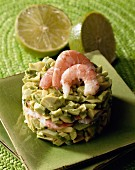 Timbale with avocado salad and prawns