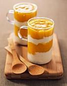 Banana mousse with mango puree