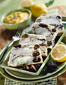 Monkfish and prune terrine