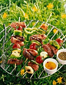 Sausage and vegetable skewers