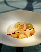 Lychee and white grape salad with Gewurztraminer, petals and rose water