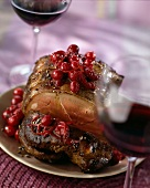 Roasted venison with cranberry sauce