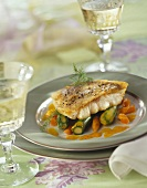 Roasted pike-perch in saffron sauce