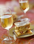 Stewed rhubarb and vanilla confectionners custard Mille-feuille