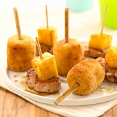 Potato Croquettes , pork and pinapple appetizers
