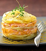 Potato and salmon Mille-feuille