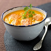 Cream of carrot and salmon
