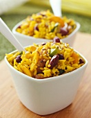 Pilaf rice with red kidney beans
