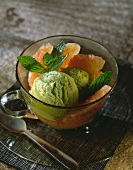 Grapefruit salad and avocado ice cream