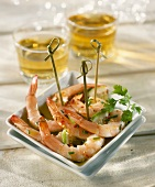 Shrimp and olive oil appetizers