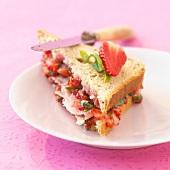 Ham and strawberry sandwich