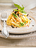 Tagliatelle with cream and truffles