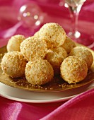 Coconut balls with rum and white chocolate