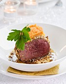 Fillet of doe with sweet potato puree