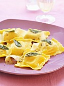 Artichoke and sage raviolis