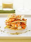 Lasagnes and shrimp Mille-feuille