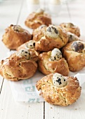 Greek Easter pies with quail eggs and mint