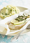 Haddock and mint papillote with mashed potatoes and peas