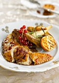 Roast pheasant with manderins and parsnip chips