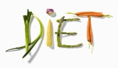 """""""Diet"""" written with vegetables"""