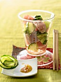 Red tuna and cucumber tartare with sesame seeds