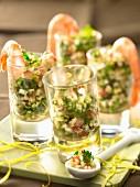 Lebanese tabbouleh with shrimps