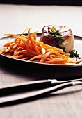 Thinly sliced carrots with scallops
