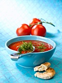 Cold tomato soup with mint and ginger