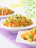 Carrot ,grated apple and rocket sprout salad