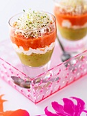guacamole and gaspacho duo with alfafa