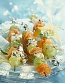 Smoked salmon,grape and Roquefort skewers