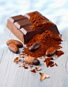 Chocolate bar,powdered chocolate and cocoa beans