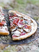 Cep and raw ham thin pastry tart