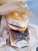 Poppyseed bread and salmon sandwich