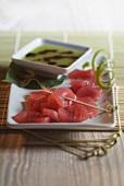 Red tuna Sashimis with Wasabi sauce