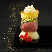 Roast beef, apple and potato stack