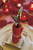 Cutlery on Christmas table presentation