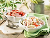Piémontaise salad and saveloy salad
