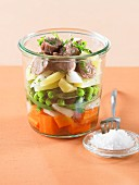 Veal and young vegetable Verrine