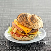 Hamburger with cheese and ham