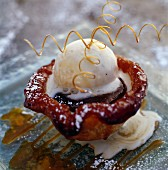 Apricot and caramel tartlet with vanilla ice cream