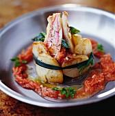 Rotbarben-Kartoffel-Charlotte mit Tomatenfruchtfleisch
