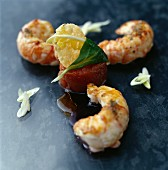 Fried langoustines and tomato timbale