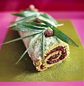 Raspberry roulade with pistachios