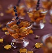 Foie gras in lavender jelly served in glasses