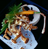 Grilled langoustines with mushrooms and young vegetables