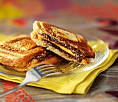 Chocolate, praline and mango toasted sandwich
